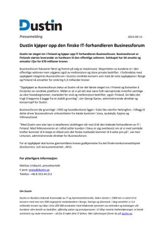Dustin kjøper opp den finske IT-forhandleren Businessforum