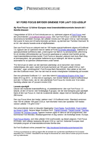 NY FORD FOCUS BRYDER GRÆNSE FOR LAVT CO2-UDSLIP