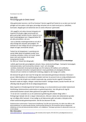 Golv 2012; Personliga golv är årets trend