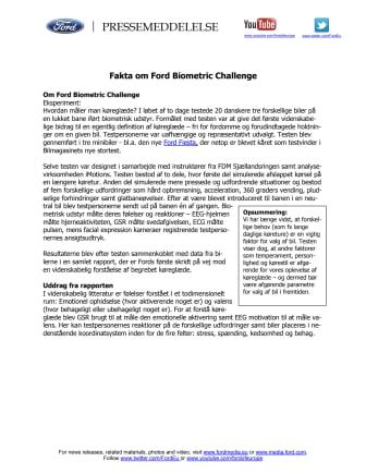 Fakta om Ford Biometric Challenge