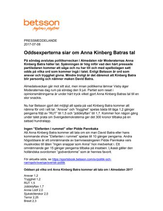 Oddsexperterna siar om Anna Kinberg Batras tal
