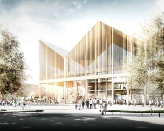 Den publika byggnaden med sitt karakteristiska tak associerar till Jägersros logotyp.
