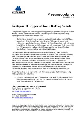Förstapris till Briggen vid Green Building Awards