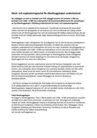 Mark- och exploateringsavtal för Masthuggskajen undertecknat