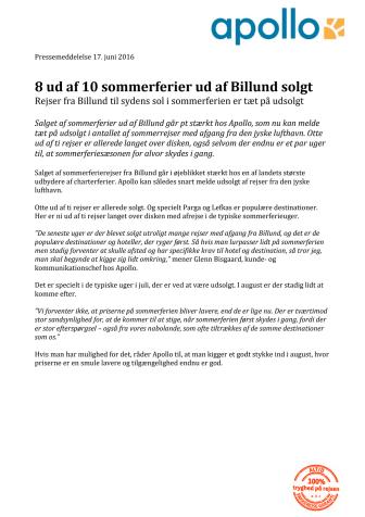 8 ud af 10 sommerferier ud af Billund solgt