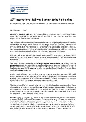 10th International Railway Summit to be held online