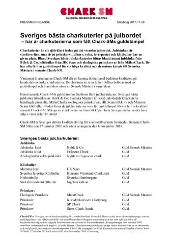 Sveriges bästa charkuterier på julbordet  – här är charkuterierna som fått Chark-SMs guldstämpel