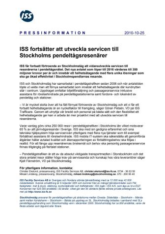ISS fortsätter att utveckla servicen till Stockholms pendeltågsresenärer