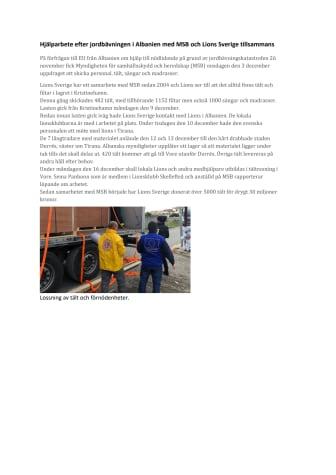 Hjälparbete efter jordbävningen i Albanien med MSB och Lions Sverige tillsammans