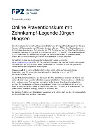 Online Präventionskurs mit Zehnkampf-Legende Jürgen Hingsen