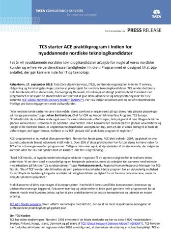 TCS starter ACE praktikprogram i Indien for nyuddannede nordiske teknologikandidater