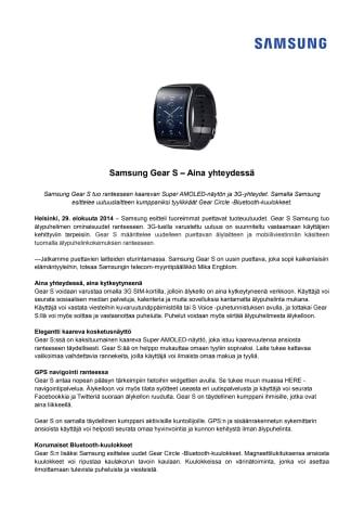 Samsung Gear S – Aina yhteydessä