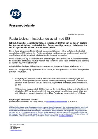 Rusta tecknar rikstäckande avtal med ISS