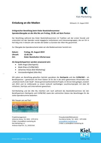 Presseeinladung zur Spendenübergabe vom Bootshafensommer-Benefiztag an die Alte Mu