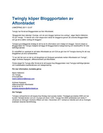 Twingly köper Bloggportalen av Aftonbladet