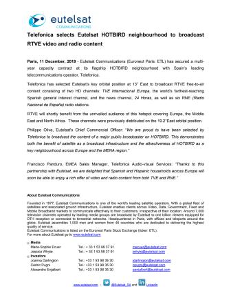 Telefonica selects Eutelsat HOTBIRD neighbourhood to broadcast RTVE video and radio content