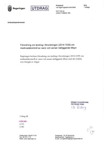 Regeringsbeslut: Sveriges marknadskontrollmyndigheter.