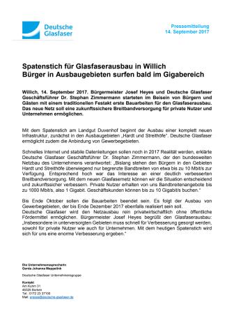 Spatenstich für Glasfaserausbau in Willich: Bürger in Ausbaugebieten surfen bald im Gigabereich