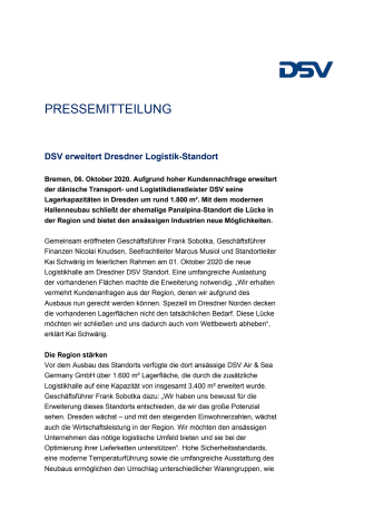 PM: DSV erweitert Dresdner Logistik-Standort