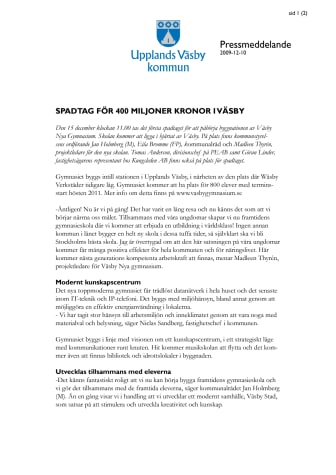 Pressinbjudan: Spadtag för 400 miljoner kronor i Väsby