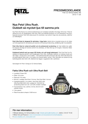 Nya Petzl Ultra Rush. Dubbelt så mycket ljus till samma pris