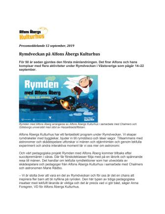 Rymdveckan på Alfons Åbergs Kulturhus