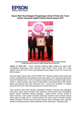 Epson Raih Dua Kategori Penghargaan Untuk Printer dan Toner Printer Dalam Indonesia Digital Popular Brand Award 2017