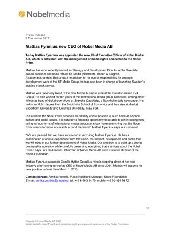 Mattias Fyrenius new CEO of Nobel Media AB
