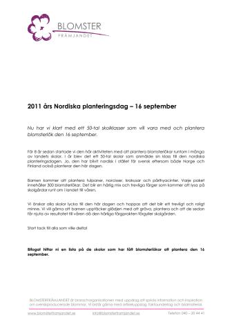 2011 års Nordiska planteringsdag – 16 september