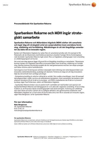 Sparbanken Rekarne och MDH ingår strategiskt samarbete