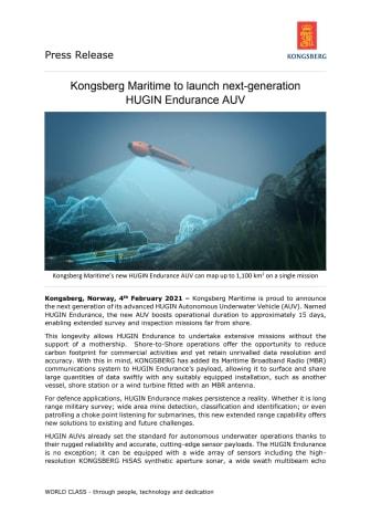 Kongsberg Maritime to launch next generation HUGIN Endurance AUV