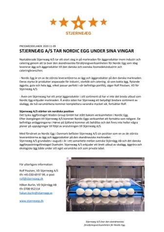 STJERNEÆG A/S TAR NORDIC EGG UNDER SINA VINGAR