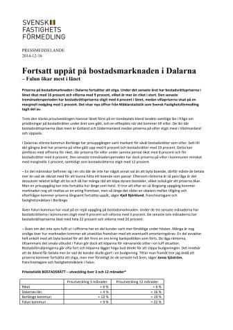 Fortsatt uppåt på bostadsmarknaden i Dalarna  – Falun ökar mest i länet