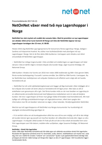 NetOnNet växer med två nya Lagershoppar i Norge