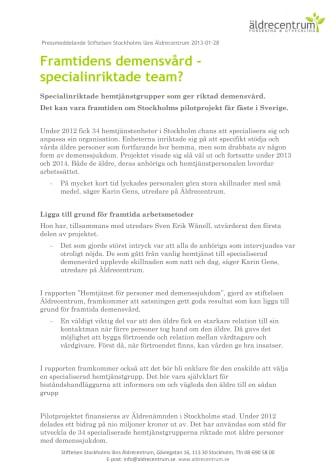 Framtidens demensvård -specialinriktade team?