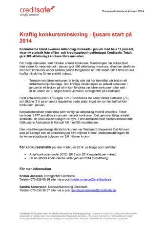 Kraftig konkursminskning - ljusare start på 2014