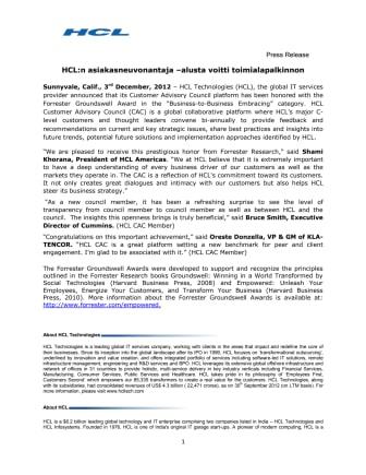 HCL:n asiakasneuvonantaja –alusta voitti toimialapalkinnon