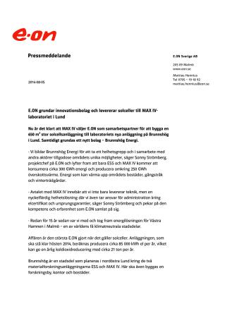 E.ON grundar innovationsbolag och levererar solceller till MAX IV-laboratoriet i Lund