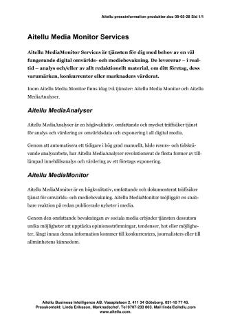 Aitellu MediaMonitor services affärsområde pdf