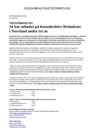 Unik kartläggning visar: Så har utbudet på bostadsrätter förändrats  i Norrland under tre år