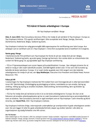 TCS kåret til beste arbeidsgiver i Europa