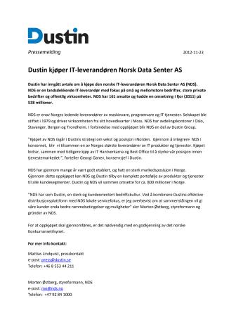 Dustin kjøper IT-leverandøren Norsk Data Senter AS