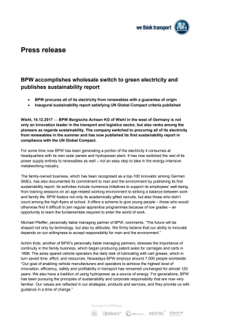 BPW accomplishes wholesale switch to green electricity and publishes sustainability report