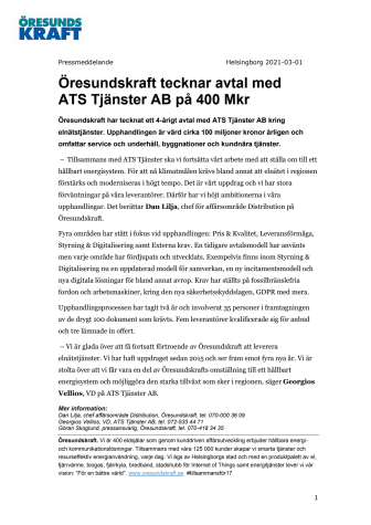 Öresundskraft tecknar avtal med ATS Tjänster AB på 400 Mkr