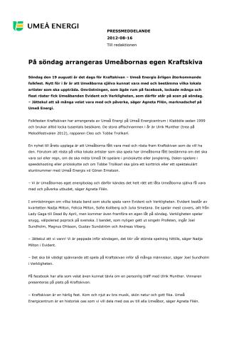 På söndag arrangeras Umeåbornas egen Kraftskiva