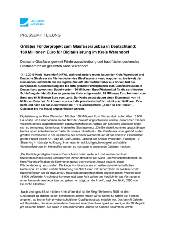 Größtes Förderprojekt zum Glasfaserausbau in Deutschland:  160 Millionen Euro für Digitalisierung im Kreis Warendorf