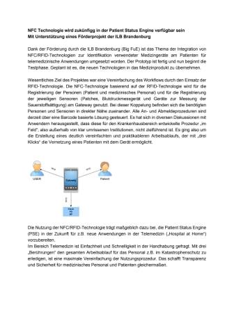 NFC Technologie wird zukünfigg in der Patient Status Engine verfügbar sein Mit Unterstützung eines Förderprojekt der ILB Brandenburg