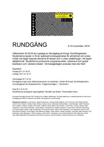 Dörrarna öppnas för Rundgång 2018