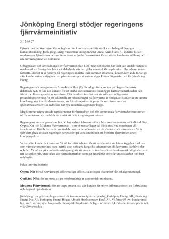 Jönköping Energi stödjer regeringens fjärrvärmeinitiativ