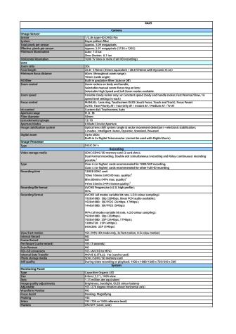 Canon tekniska specifikationer XA25